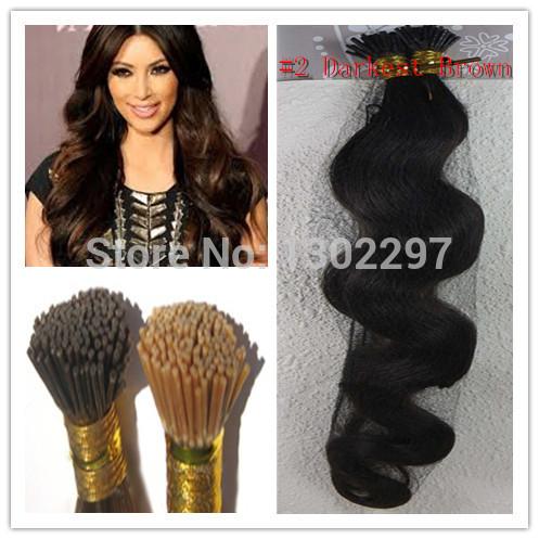 brazilian corpo virgem rainha encaracolados corpo brasileiro cabelo # 2 Darkest Brown I Dica queratina Glue suave Remy extensão do cabelo humano 100S(China (Mainland))