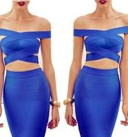 Blue Colour 2014 Newest Arrival Women's Sexy Mini Two Pieces Dress HL Bandage Dress Club Night Dress High Quality Wholesale