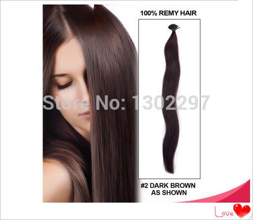 brasileiro cabelo virgem reta cabelo humano rainha #2 darkest brown eu ponta de queratina macio cola extensão do cabelo humano remy 100s(China (Mainland))