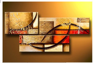 100% Hand made color red yellow Eye line High Q. Abstract landscape Wall Decor Oil Painting on canvas 3pcs/set mixorde Framed