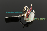 18K Plated Rose Gold Austria Crystal Diamond Swan Opal Ring For Women Jewelry Ring Free Shipping
