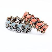 2014 New Vintage Orange Blue Candy Color Flower Charm Elastic Bracelet