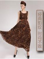 2014 fashion women Loose waisted o-neck chiffon leopard print one-piece dress with belt plus size summer chiffon dress