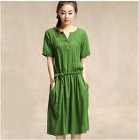 Party Dresses Hot Sale Limited 2014 Women Summer Short-sleeve Fluid One-piece Dress Loose Plus Size Clothing Korean Slim Long