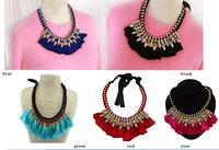 Women fashion brand 2014 gold plated silk ribbon chain crystal rhinestone feather tassels bib statement shourouk necklace