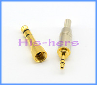 Free shipping 1pc Goldplated Stereo Audio Connector 6.5mm Male Plug to 3.5mm Jack Connector+3.5 Male Connector for 4mm cable