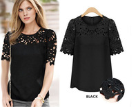 Fashion Summer 2014 Women Chiffon Hollow Out Lace Patchwork Blouses Short Sleeve Shirts Plus Size Tops For Women Clothing