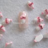RC-183-1 200pcs/bag Cute Decoration Resin Pink Bottle Resin Decoration Nail Art Decorations