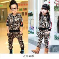 New 2014 Winter Clothing Set Child Leopard Print Girls Clothing Sets Hot Sale
