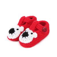 2014 Newborn Baby Boy Girl Crochet Shoes Cartoon Bear Winter Shoes Handmade Crib Shoes(3 pairs/lot) 4 Colors