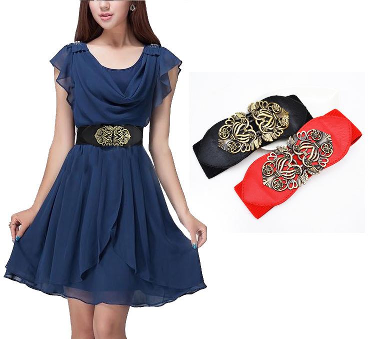 Retro Fashion adjustable Flower Elastic Stretch Buckle Wide Waist Belt Waistband(China (Mainland))