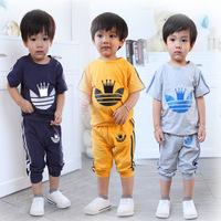 2014 Korean Summer Boys&Girls SportS Suit Leisure Short Sleeve T-shirt&Pants Cloting Set Casual Baby&Kids Clothes Sets C10W19