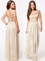 2014 Elegant Crochet Party Dress White Embroidery Lace A-Line Chiffon Sexy Evening Dress Women Summer Long Dress New