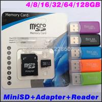 Wholesale Micro SD card SDHC 128mb/2gb/4gb/8gb/16gb/32gb/64/gb128gb C4TF Memory card +SD transfer adapter+Free Gift Freeshipping