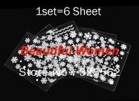 2014 New 6 Sheets Christmas Snowflakes Santa Trees Design 3D Nail Art Stickers Decals Drop shipping 19344