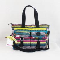 8 colors Folding Water Resistant Crinkle nylon bags women handbag mummy's messenger bag furry monkey shoulder bags K012026-2