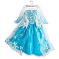 Retail Frozen Elsa Princess Dress Fashion Long Sleeve Lace Yarn Elsa Costume Snowflake Printed Girls Dresses Kids Clothes C25