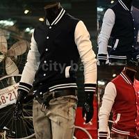 New Fashion Men's Trendy Baseball Uniform Slim Designed Fit Coat Casual Jacket Outerwear 3 Colors M ~XXL
