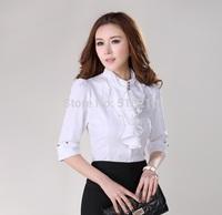 Elegant White New 2014 Fashion Half Sleeve Summer Casual Women Blouses Cotton Shirts Work Wear Plus Size Office Ladies Tops
