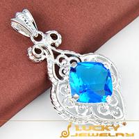 New Fashion Fashion Style Silver Jewelry Pendant  Blue Topaz Silver  Pendant For Women Wedding Party  Pendant  P0018