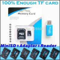 100%capacity miniSD Memory Card 64GB 32GB 16GB 8GB 4GB 2GB 128MB Micro SD Card+Adapter + Gift TF Card USB2.0 Reader+Freeshipping