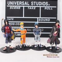 Free Shipping 4pcs/set Naruto Uchiha Sasuke Uzumaki Naruto Uchiha itachi Uchiha Madara PVC Action Figure Model Toys NTFG054