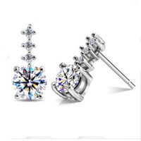 Europe Style Earring,White Zircon Earring Studs,925 Sterling Silver on 3 Layer Platinum Plated OE65