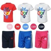2014 Retail 100%cotton Summer 2-pcs 2-color fashion kids clothes set (baby T-shirt+pants),Free Shipping,Size:80-90-100-110-120