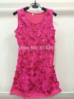 2014 Summer Fashion girls dresses Handmade flowers  sundress 6colors can choose 6T-12T3PCS/LOT