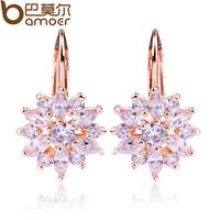 Bamoer Luxury Champagne Gold Flower Stud Earrings with Zircon Stone for Women Birthday Gift flower earrings Bijouterie SDSE014