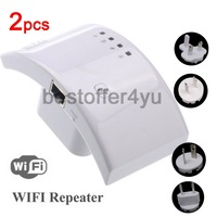 2pcs Wireless-N Wifi Repeater 802.11N/B/G Network Router Range Expander 300M 2dBi Antenna Signal Booster Wifi Roteador Wireless
