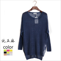 2015 New Fashion Women Plus Size Batwing Sleeve Linen Solid Color Pollovers Ladies Casual Perspective Sweater Crochet Blusas