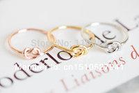 New Fashion Silver 18K Rose Gold  Brass Knuckle Heart Knot Ring Boho Chic Couple Rings For Women Midi Finger Ring Men