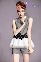 European summer new small fragrant wind plover women summer two-piece shorts suit