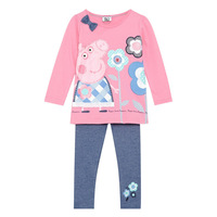 2014 autumn girls clothing sets peppa pig cartoon style girl's apparel full sleeve pink top+gray pants girl 2pcs suit in retail