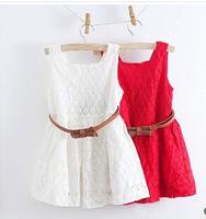 Hot Sale! With Belts 2015 Summer New Models Kids Belt Lace Vest Dress Princess Girls Dress Red~White Dresses Girl Free Shipping