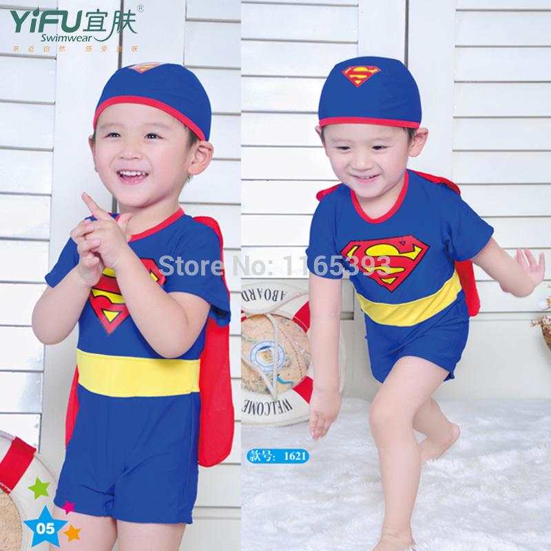 2014 child swimwear male child swimwear one piece male big boy super man swimwear hat SETS(China (Mainland))