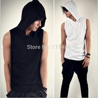 Fashion On sale Hood Tank Top T-shirt sleeveless tee men 2014 Shirts