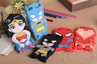 Free Shipping Cartoon Batman Wonderwoman Superman Ironman Soft Silicone Rubber Back Case For Apple iPod Touch5