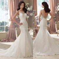 SS95White Vestidos de novia New 2014 Beaded Lace Appliqued Mermaid Wedding Dresses for sale Backless Wedding Dresses 2014 Gowns
