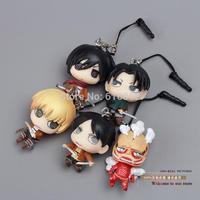 Anime Attack on Titan Eren Jaeger Rivaille Mikasa Ackerman Armin Colossal Titan PVC Figure Toy Phone Rope 5pcs/lot ATFG060