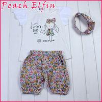 Sunny Days 100% Cotton Baby Girls Clothing Set 3 pcs:headband+shirt+pant  Princess Summer Clothes Bowknot Short Three Pieces
