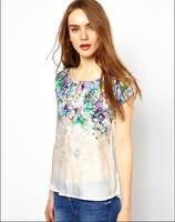 2014 Brand design ladies retro floral print blouse shirt elegant women silk patchwork blouse fashion women short sleeve blusas
