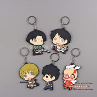10pcs/lot Anime Attack on Titan Eren Mikasa Ackerman Armin Rivaille Keychains PVC Key Chains Pendants ANPD1144