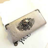 Skulls Long Wallet Purse 2014 new European and American punk lady purse.