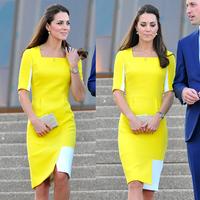 Princess Kate Dress Women's Dress OL Style Patchwork Dress Yellow Color Work Dress 1412