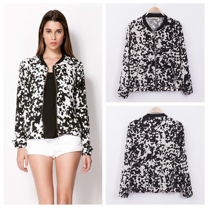 Bomber Jacket Pattern Women Jackets Cow Pattern