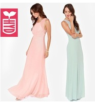 Export brand 2014 High quality chiffon Womens elegant ball gown Maxi dress,Sleeveless long dress summer