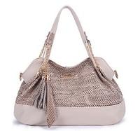 Hot Casual  2015  Paillette Desigual Brand Leather Tassel Women Handbag Sequined Shoulder Bags Women Messenger Bags Tote