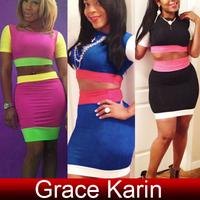 Free Shipping Grace Karin Women's Slim Fit 2pcs Set Clubwear Pub Tops + Skirt 3 Size XS~M CL5740